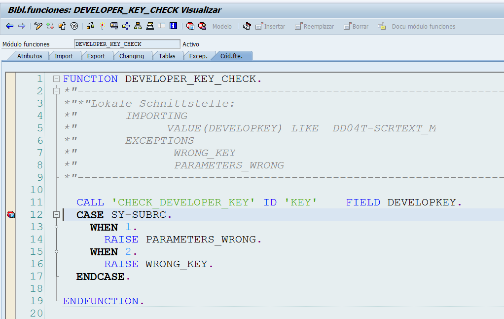 SAP: Saltar control de usuario Developer Developer_key_check