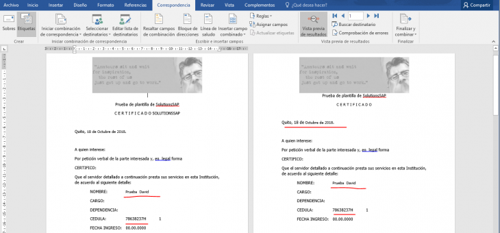 Nuevo programa de Data Abap to Word template( SAP a Word )